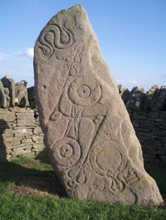 The Aberlemno Serpent Stone. This is an example of stone sculpture/carving by the Picts, a group of people who lived in what is now North and East Scotland in the Late Iron Age and Early Medieval periods. The other side has prehistoric markings on it.