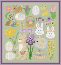 Spring Easter Images  - cross stitch pattern designed by Susan Saltzgiver. Category: Easter.