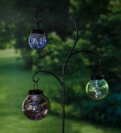 Hanging Mercury Glass Solar Lanterns with Garden Stake Set | Solar AccentsVerified ReplyVerified Buyer