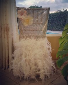 Orange Flowers Silver Metallic Brocade Bling Fabric Waistcoat Decor Chair Sashes