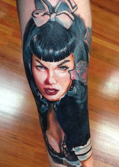 Bettie Page portrait tattoo by Pony Lawson