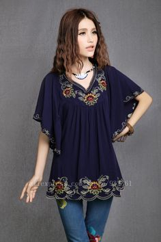 New 2013 Free Shipping vintage 70s mexican Ethnic Floral EMBROIDERY Hippie Blouse DRESS Women Clothing Vestidos Tops S M L DR45A US $18.99