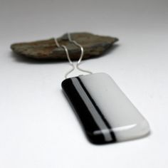 Black and white glass necklace fused glass by UrbanGlassStudio