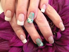 White French polish with mint green freehand nail art