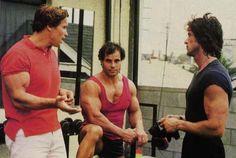 Arnold Schwarzenegger, Franco Columbu and Sylvester Stallone