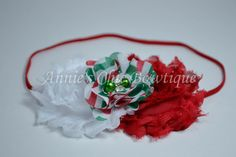 Christmas Baby Headband Green Chevron Red by AnniesChicBowtique, $7.95