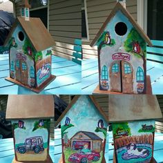 Birdhouse just completed for a coworker Krylon paint and craft paint and Marker and coated in Polycrylic Painted Boxes, Hand Painted, Krylon Paint, Craft Paint, Birdhouses, Wood Boxes, Marker, Outdoor Decor, Pictures