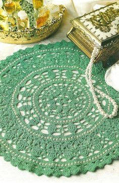 Y092 Crochet PATTERN ONLY Jade / Pearl Doily and Chenille Drawstring