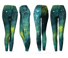 Sacred Geometry Leggings -Green Blue Celestial Moon Festival Pants - Gradient Boho Gypsy Bohemian Yoga Pants - Dance Pants / Tights