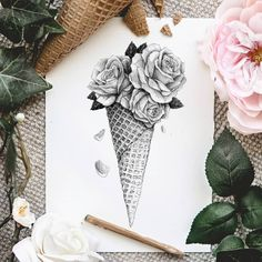 A cone of roses. Staging Ink and Pencil Drawings. Click the image, for more art by Mike Koubou Drawings creative Ink and Pencil Drawings. Realistic Flower Drawing, Simple Flower Drawing, Easy Flower Drawings, Flower Art Drawing, Pencil Drawings Of Flowers, Realistic Pencil Drawings, Pencil Art Drawings, Art Drawings Sketches, Creative Pencil Drawings