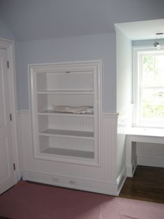 Great built in idea - shelves between studs and behind a door. Usually unusable space. Could also make a small nook in the entry for purse and keys, or put little drawers in the bathroom for extra storage.