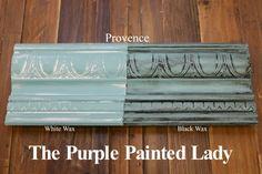 The Purple Painted Lady Provence Chalk Paint Annie Sloan Black White Wax Annie Sloan Chalk Paint Colors, Annie Sloan Wax, Blue Chalk Paint, Annie Sloan Paints, Chalk Painting, White Chalk, Paint Colours, Black Painted Furniture, Annie Sloan Painted Furniture