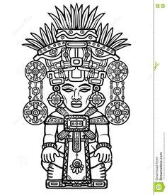 Dibujo Linear: Imagen Decorativa De Una Deidad India Motivos Del Arte Del Maya De Los Indios Ilustración del Vector - Imagen: 72815914