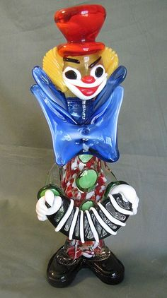 Vintage Murano Glass Clown Holding an Accordion
