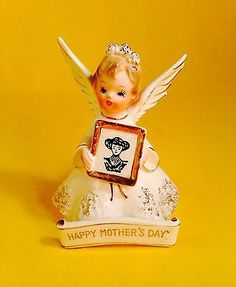 Happy-Mother-039-s-Day-Sweet-Angel-Figurine-Bless-Mom-Gift-Vintage-Estate-Sale-Rare