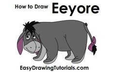 How to draw eyore how to draw drawings drawing cartoon drawings cool drawings how to draw Cartoon Drawing Tutorial, Cartoon Girl Drawing, Guy Drawing, Drawing People, Drawing Sketches, Drawing Ideas, Disney Drawings, Cool Drawings, Drawing Disney