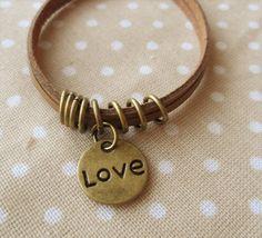retro leather handmade having two layers heart bracelet