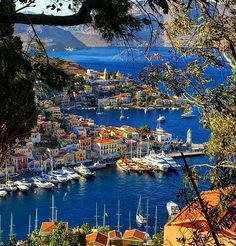 The harbor town of Symi Island, Greece Places To Travel, Places To See, Travel Destinations, Beautiful Islands, Beautiful Places, Places Around The World, Around The Worlds, Harbor Town, Places In Greece
