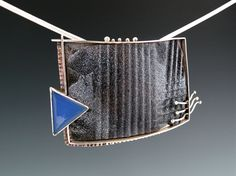 Silver, copper, enamel and blue agate neckpiece, convertible to wear vertically, angled or horizontally.