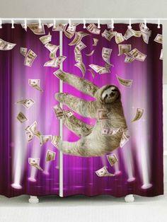 Waterproof Sloth And Dollars Shower Curtain Funny Shower Curtains, Open Showers, Curtain Material, Animal Fashion, Funny Sloth, Creative, Animals, Kids Swimwear, Mens Fashion