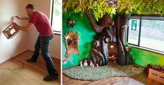 Il a utilisé sa créativité pour transformer sa chambre en un monde merveilleux, avec un arbre, des branches, des papillons, des ornements et des oiseaux. Soudures, metal-mesh, fibre de verre et imagination!