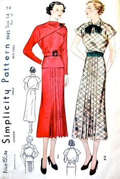 Vintage 1930s dress sewing pattern