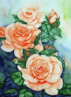 Watercolour 'Rosengarten' von Maria Inhoven bei artflakes.com als Poster oder Kunstdruck