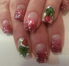 "Christmas nails ""the grinch"""