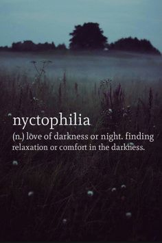 Nyctophilia: Love of darkness or night finding relaxation or confort in the darkness.