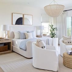 modern bedroom with classic feel // white and light blue bedroom // white armchairs // rattan coffee table // beaded chandelier Serene Bedroom, Master Bedroom Interior, Home Decor Bedroom, Modern Bedroom, Living Room Decor, Bedroom Ideas, Dream Rooms, Dream Bedroom, Home Decor Inspiration