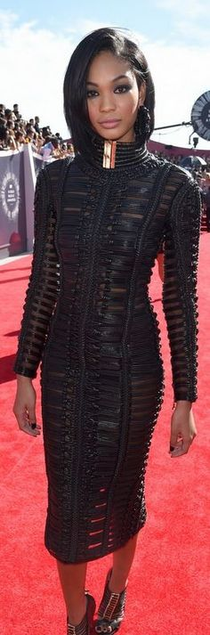 Chanel Iman, black dress and sandals