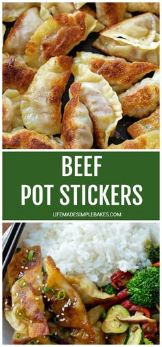 These quick & easy beef pot stickers (gyoza) are sure to be a hit! They're pan fried, then steamed in a delicious sesame soy sauce. Beef Dumplings, Dumpling Recipe, Gyoza Recipe Beef, Veggie Fries, Veggie Stir Fry, Asian Recipes, Beef Recipes, Cooking Recipes, Soup Recipes