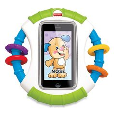This sturdy case will protect your iPhone® or iPod® touch from dribbles, drool and unwanted call-making. Busy beads and a mirror add baby-appropriate play and free Laugh & Learn™ apps mean plenty of learning fun!