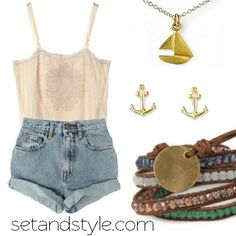 Relax. It's summer time!  Accessorize this beach inspired style with the Float my Boat Necklace plus the Gold Anchor Earrings by Dogeared and our colorful Horizons wrap by Sasa Designs.   Shop Now ♥ setandstyle (dot) com