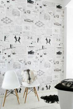 tapeta ze stron książki // book pages wallpaper Interior Walls, Interior And Exterior, Interior Design, Print Wallpaper, Home Wallpaper, Wallpaper Designs, Newspaper Wallpaper, Diy Vintage, Wall Finishes
