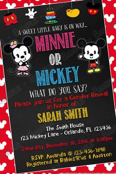 Mickey and Minnie Birthday Invitations Beautiful Novel Concept Designs Mickey & Minnie Mouse Gender Reveal Baby Shower Invitation Baby Mickey, Mickey And Minnie Wedding, Mickey Mouse Baby Shower, Minnie Birthday, Baby Mouse, Mickey Invitations, Gender Reveal Invitations, Printable Baby Shower Invitations, Invitation Ideas
