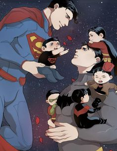 Cant help but re-pin. Look at all those cute Robins! And look at Superman being…