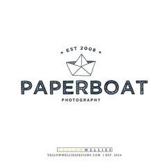 Premade  Logo  Paper Boat Logo  by YellowWelliesDesigns on Etsy, $35.00