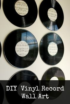 Create some cool wall art with just some old vinyl records and some sheet music! Make awesome new art for your walls out of some old vinyl records and some vintage sheet music! This DIY will bring your vintage pieces to life on the wall. Vinyl Record Crafts, Old Vinyl Records, Vintage Records, Records Diy, Vintage Sheet Music, Vintage Sheets, Cool Wall Art, Diy Wall Art, Record Wall Art