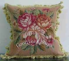 """16"""" French Aubusson Design Roses Wool Needlepoint Decorative Pillow Cushion"""