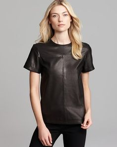 Theory Leather Tee Eliorana Ford Short Sleeve #15things #trending #fashion #style #leather #plaid #theory