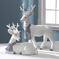 20 Inch High Set of 2 Holiday Deer Pair - Tabletop Set of 2 Christmas Deer Decor