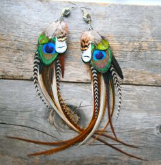 big feather earrings with pyrite crystals