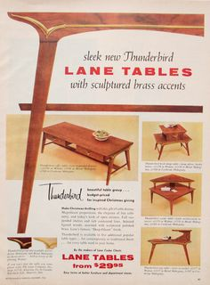 Advertising-Lane Thunderbird Tables, Interior Design/ Home Decor/ Mi. - Advertising-Lane Thunderbird Tables, Interior Design/ Home Decor/ Mid Century Modern/ C - Mid Century Modern Art, Mid Century Decor, Mid Century House, Mid Century Modern Furniture, Mid Century Style, Midcentury Modern, Modern Loft, Danish Modern, Mid Century Interior Design
