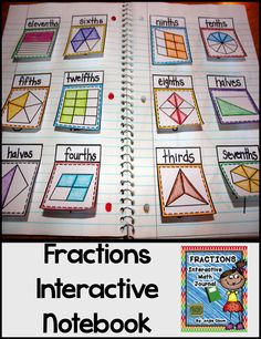 Fractions Second Grade Math Notebook This product is jam-packed with quality goodies that will provide you with great resources to use for your fraction unit! What's Included: *Explanation of Interactive Math Notebooks *Fraction Vocabulary Words * Teaching Fractions, Math Fractions, Teaching Math, Equivalent Fractions, Fourth Grade Math, Second Grade Math, Third Grade, Math Resources, Math Activities