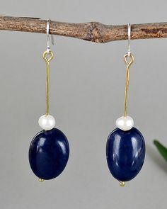 Navy blue vegetable ivory drop earrings and white pearls, long dangle earrings with navy blue vegetable ivory nut, elegant drop earrings by NataliaNorenasilver on Etsy