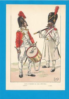 France-Planche de JOB -1804 1814. Garde d'Honneur de Lyon. Tambour et Sapeur.