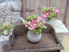 Miniature Dollhouse Pink Flowers In The Jar van Minicler op Etsy
