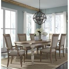 Pecan Two-Tone 7 Piece Dining Set - Town & Country Collection Round Dining Table Sets, 7 Piece Dining Set, Dining Room Sets, Dining Tables, Dining Furniture Sets, Coaster Fine Furniture, Dining Table Lighting, Local Furniture Stores, Tuscan Decorating