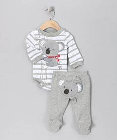 Take a look at this Gray Stripe Koala Bodysuit & Footie Pants by Mini Bean on #zulily today!